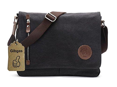 Gibgas Unisex Vintage Canvas Umhängetasche Schultertasche Messenger Bag für Arbeit Uni Reise Sport (Schwarz)