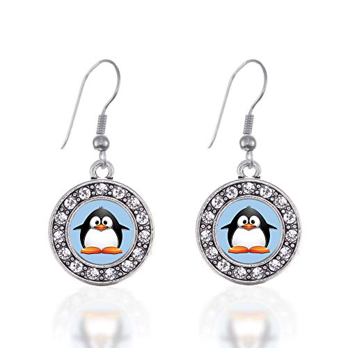 (Inspired Silver - Penguin Charm Earrings for Women - Silver Circle Charm French Hook Drop Earrings with Cubic Zirconia Jewelry)