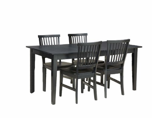 Home Style 5181-318 Arts and Crafts 5-Piece Rectangular Dining Set, Black Finish