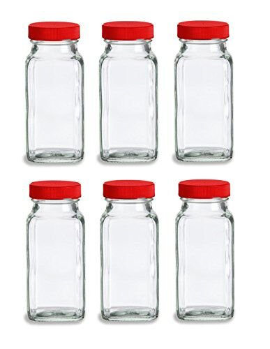 Nakpunar French Square Glass Spice Jars with Shaker Fitmens and Caps (6, 6 oz Red) (Glass Rack Insert)