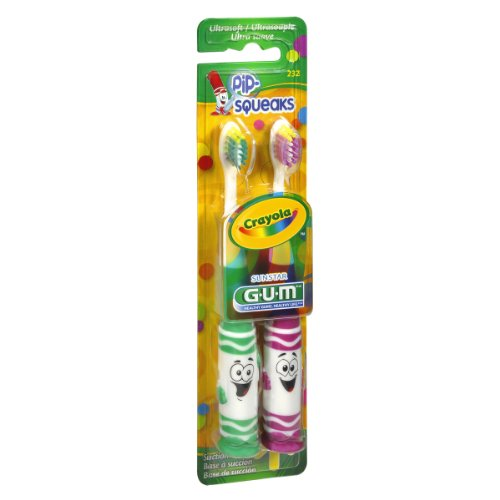 GUM Crayola Toothbrushes Pip-Squeaks Ultrasoft 2 ea Color may vary (Pack of 4)