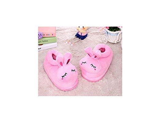 peluche la chaudes à douce Chaussures dessinée pantoufles de maison bande animaux chaussures animaux maison Pink neutres en xSPxXq