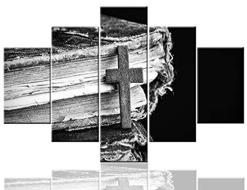Large Wall Art Christ Poster Canvas Prints Home Decor for Bedroom Living Room Pictures Black And White Cross On The Bible Holy book 5 Panel HD Printed Painting Artwork Framed Ready to Hang(60''Wx40''H