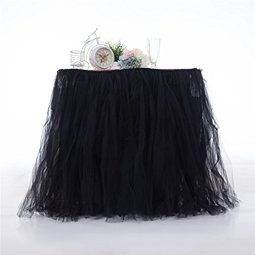 Honey$Homey Tutu Table Skirts, 39 Inch, Black, Adult Birthday Party, Cosplay Party, Halloween, Wonderland Theme Decorations for -