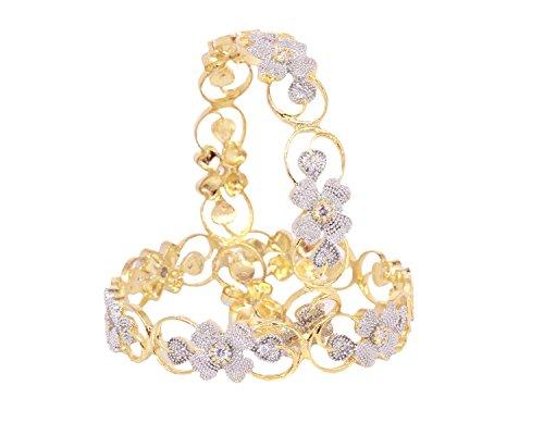 - Indian Bollywood Zircon made gold plated Flower Design American Diamond Bangle bracelet set jewelry (2.4)