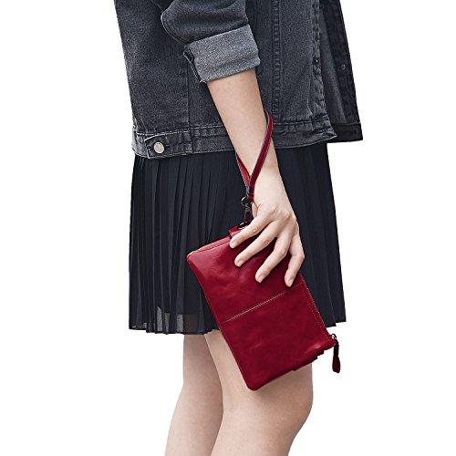 Brown Leather Wristlet - Jack&Chris Women's Small Leather Wristlet Wallets Clutch Handbag Shoulder Bag Purse, WBGT045 (Red)