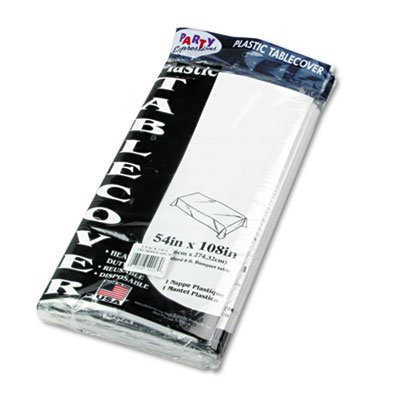 Table Set Rectangular Table Cover, Heavyweight Plastic, 54 x 108, White, 6/Pack, Sold as 1 Package, 30PACK , Total 30 Package