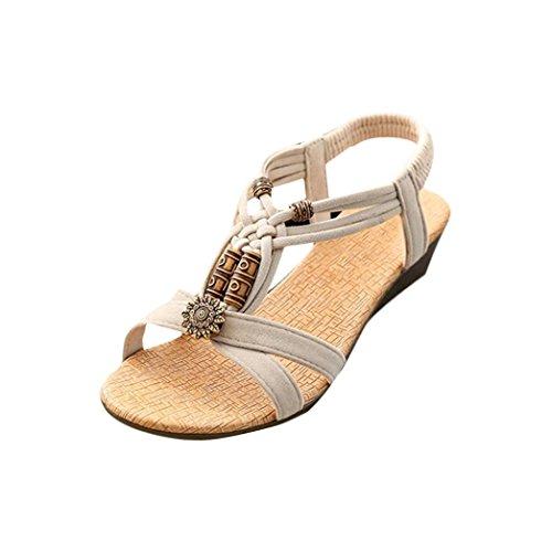 Womens Sandals ,Clode® 1 Pair Women's Casual Peep-toe Flat Buckle Shoes Roman Summer Sandals Beige