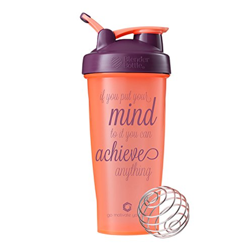 Motivational Quotes on Blender Bottle Brand Shaker Bottles, 20oz and 28oz Protein Shakers, Fitness Gift, Multiple Designs and Colors Available (Achieve Anything - 28oz - Coral/Plum)