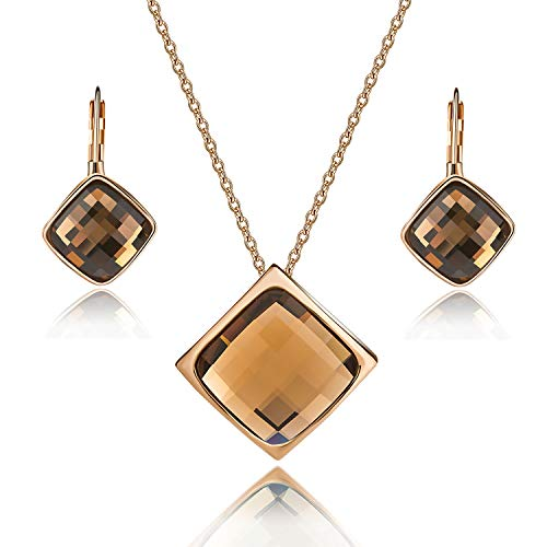 EVEVIC Square Austrian Crystal Necklace Earrings Set for Women Girls 18K Gold Plated Jewelry Set (Brown)