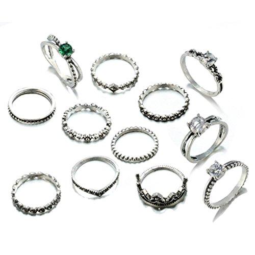 FimKaul Fire Opal Diamond Ring, 12 PCS Fashion Rings Set Natural Gemstone Wedding Engagement Jewelry Set
