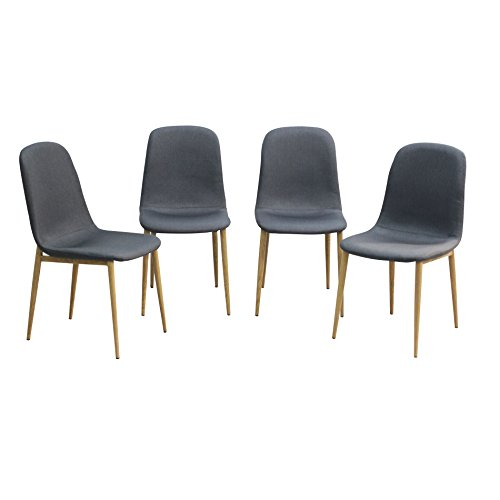 Kitchen Dining Chair set for Fabric Eames Style Dining Chair With Sturdy Metal Legs for Dining Room,Grey (Grey, 4-Pack) Review