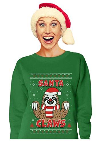 Tstars TeeStars - Santa Claws Sloth Ugly Christmas Sweater Funny Xmas Women Sweatshirt Small Green (Sloth Christmas)