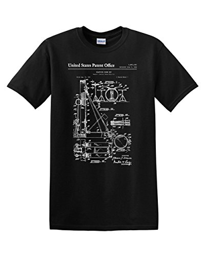 (Drumset Patent Drum Set Drummer Percussion Music Musician Band Vintage Musical Instrument Mens Graphic Tee Adult T-Shirt Apparel (Black, XX-Large))
