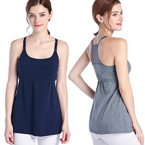 SUIEK Women's Nursing Tank Top Cami Maternity Bra Breastfeeding Shirts (Large, Charcoal+Navy(2pcs))