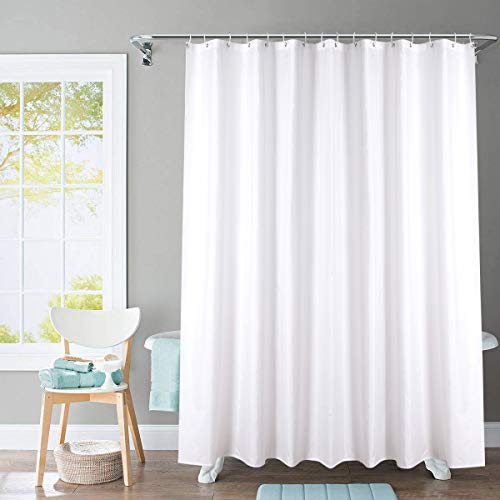 TEALP Fabric White Fabric Shower Curtain 72 by 72 Inch Hotel Quality Waterproof Polyester Bathroom Curtain White-72 x 72 Inch