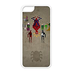 8Bit - Marvel Spiderman White Silicon Rubber Case for iPhone 5C by DevilleArt + FREE Crystal Clear Screen Protector