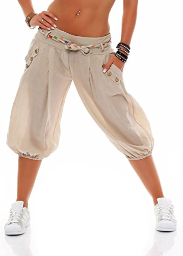 malito corto Bombacho Pantalón con Cinturón Baggy Aladin Boyfriend Sudadera 3416 Mujer Talla Única beige