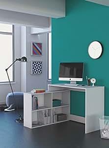 Mesa escritorio con estanteria baja blanca de estudio despacho ordenador o dormitorio - Mesa de estudio blanca ...