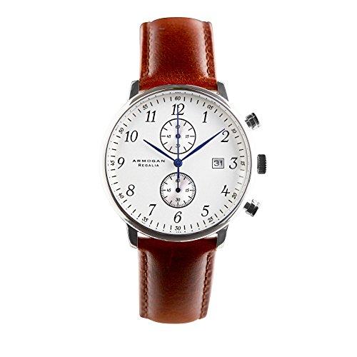 - Armogan Regalia - Silvered White C85 - Men's Chronograph Watch Leather Strap