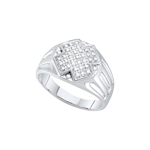 10kt White Gold Mens Round Diamond Cross Cluster Ring 1/4 Cttw by JAWAFASHION