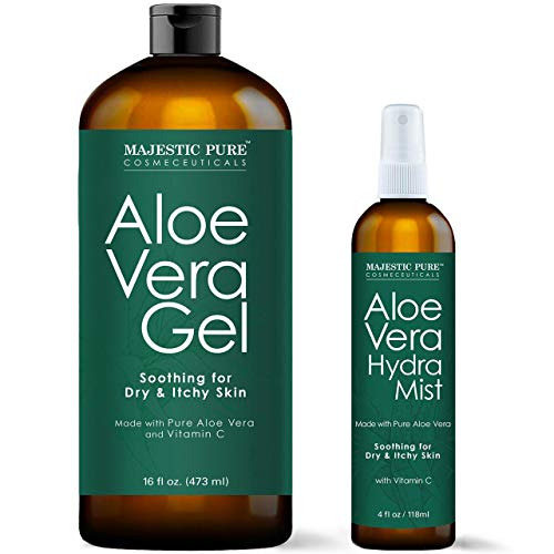 MAJESTIC PURE Aloe Vera Gel and Mist Super Combo - 16 oz Gel and 4 oz Hydra Spray - 100 Percent Pure and Natural Cold Pressed Aloe Vera for Hair Growth, Face, Body and Skin (100 Pure Aloe Vera Gel For Skin)