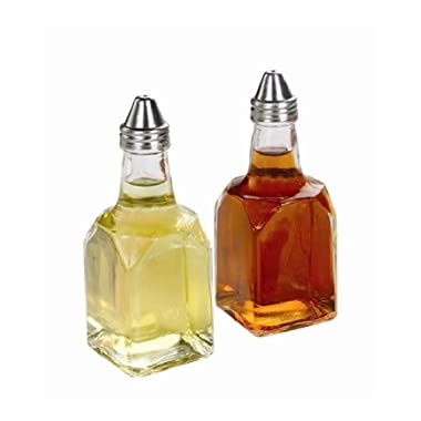 SET OF 2, 6 oz. (Ounce) Tabletop Oil and Vinegar Cruet Glass Bottle Cruets Dispenser