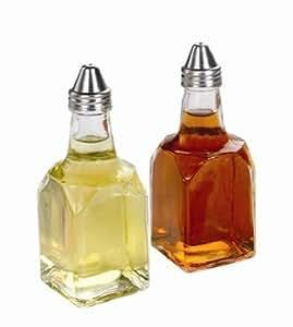 SET OF 2, 6 oz. (Ounce) Tabletop Oil and Vinegar Cruet Glass Bottle Cruets Dispenser