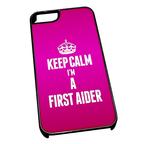 Nero cover per iPhone 5/5S 2587 rosa Keep Calm I m A First Aider