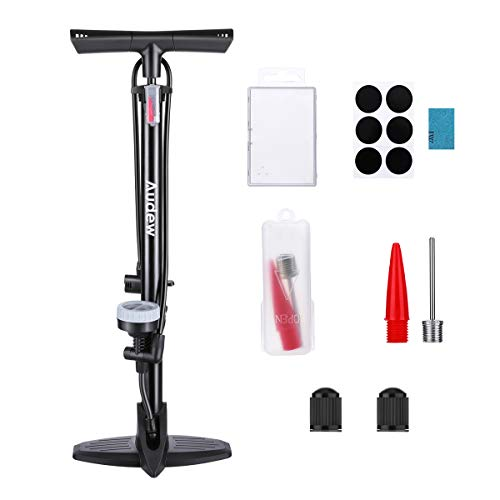 Audew Floor Bike Pump with Gauge - Steel Manufacturing Ergonomic Household Bicycle Tire Pump - 230Psi Reversible Presta and Schrader Dual Valves - Including Puncture Repair Tools and Inflating Kit