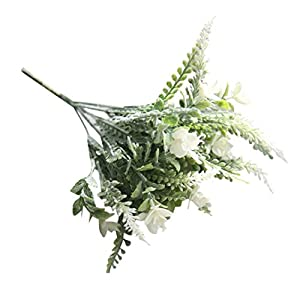 YJYdada Artificial Fake Flower Small Fresh Grass Bouquet Home Wedding Decor (White) 45