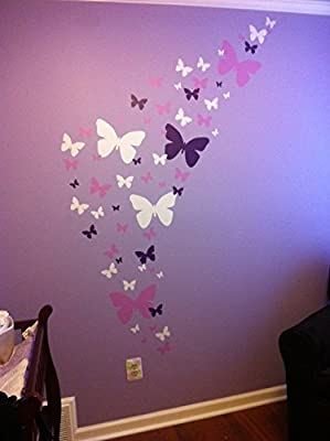 "Create-A-Mural Girls Room Wall Decals, Butterfly Wall Decals (39) Decorative Peel & Stick Wall Art Sticker Decals 2""-11"""