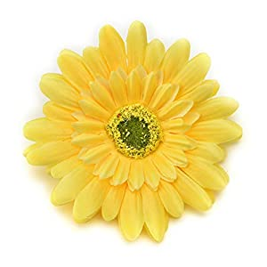 Fake flower heads in bulk wholesale for Crafts Silk Sunflower Rose Flowers Head Artificial Flowers Wedding Home Party Decoration & Wedding Car Corsage Decoration 15PCS 9.5cm (Yellow) 18