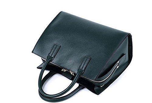Otoño e Invierno XinMaoYuan Cowhide Bolso Bolso de Hombro de sección transversal de color sólido Tuote Bolsa Bolsa con cremallera, negro Green