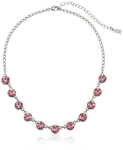 1928 Jewelry Silver-Tone Pink Genuine Swarovski Crystal Collar Adjustable Strand Necklace 16