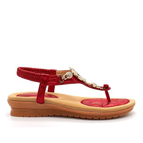 London Footwear ,  Damen Sling Backs Rot