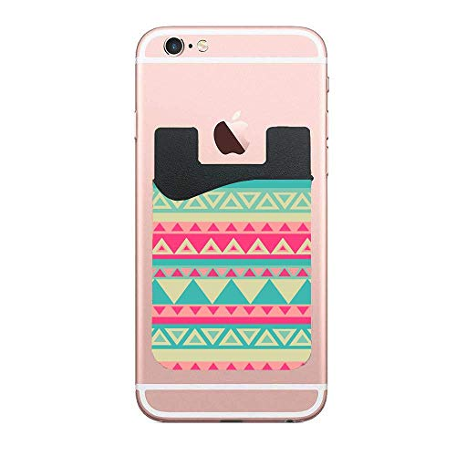 Romance Southwestern Stripes Teal Tribal Lovely 2 PCS Cell Phone Stick On Card Holder Wallet, Credit Card Phone Wallet Case for Any iPhone or Android