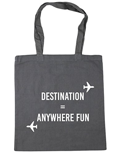 HippoWarehouse destino cualquier lugar diversión bolsa de la compra bolsa de playa 42cm x38cm, 10litros gris grafito