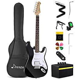Donner DST-102B Solid Body 39 Inch Full Size Electric Guitar Kit Black, Beginner Starter, with Amplifier, Bag, Capo…