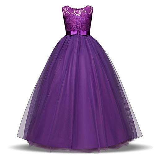 Kids Dress for Girls 5 6 8 10 Year Birthday Wedding Tulle Lace Long Girl Dress Elegant Princess,Z,6 -