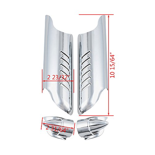 Chrome Lower Fork Leg Deflector Shields Fender Covers For 2000-2013 Harley Touring Dual Disc by Astra Depot (Image #5)