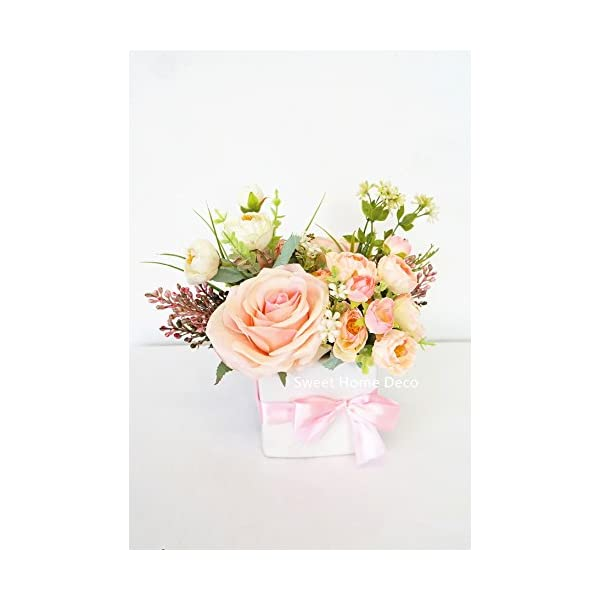 Sweet Home Deco Spring Floral Arrangment Silk Rose Fake Berry w/White Cube Ceramic Vase for Home Decor Wedding Centerpiece (Pink-Small)