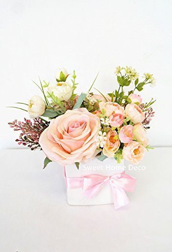 Sweet Home Deco Spring Floral Arrangment Silk Rose Fake Berry w/ White Cube Ceramic Vase for Home Decor Wedding Centerpiece (Pink-Small)