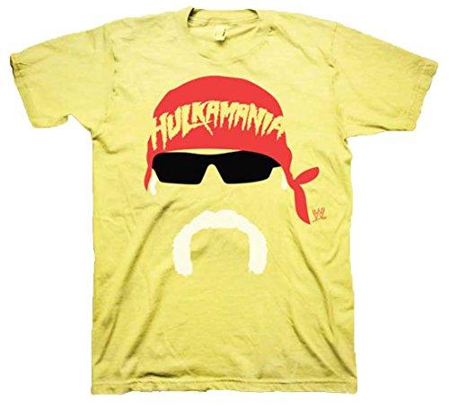 WWE Men's Hulk Hogan Face Silhouette T-Shirt, Yellow, Small
