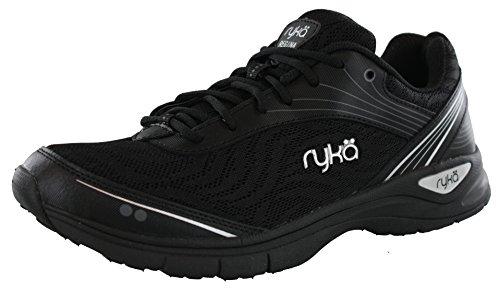 Ryka Women's Regina Walking Shoe, Black/Chrome Silver, 8.5 M US