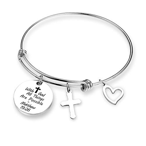 - ZNTINA Christian Bracelet with God All Things are Possible Bracelet Religious Jewelry Inspirational Gift Faith Bracelet Matthew 19:26 (BR- with god)