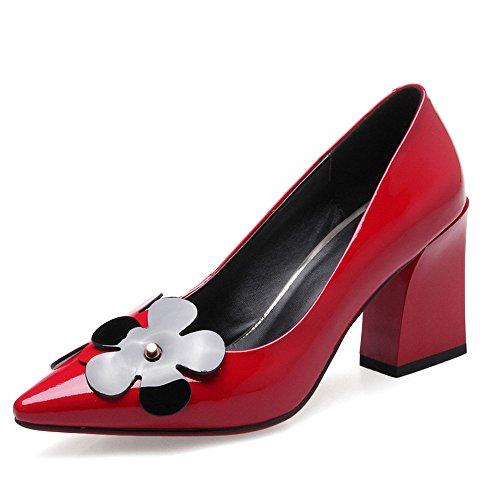 Nine Seven Cuero Moda Puntiagudos Zapatos de Tacón de Grueso con Flores para Mujer Rojo
