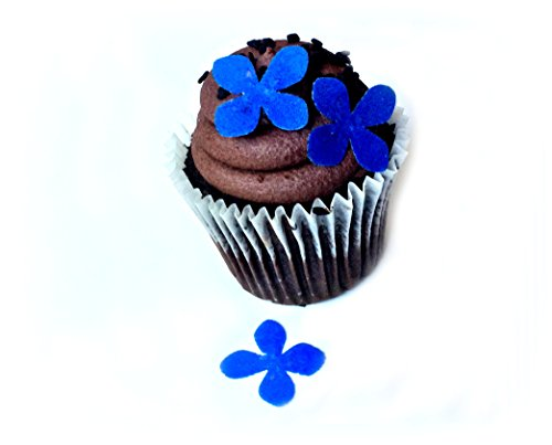 Royal Blue Purple Wafer Paper Flowers 1 Inch for Decorating Desserts Pack of 24