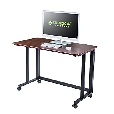 "EUREKA ERGONOMIC 43"" Multipurpose Mobile Standing Desk, Folding Adjustable Desk with One Button Press, Cherry"