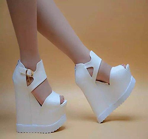 XiaoGao 15 centimetro Bare botas en el fondo grueso del zapato,137-20 blanco